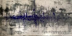 """PhilingBlue : Abstract art painting on canvas. 60"""" x 30"""""""