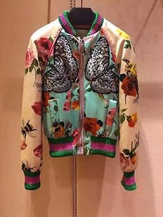 High Quality New Fashion 2016 Runway Jacket Women's Floral Print Luxury Butterfly Bird Emrboidery Baseball Bomber Jacket
