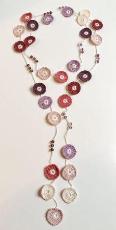 Rose shades Turkish style beaded crochet necklace – Cindy Brehler Rose shades Turkish style beaded crochet necklace Rose shades Turkish style beaded crochet by GabyCrochetCrafts Crochet Beaded Necklace, Bead Crochet, Diy Necklace, Diy Crochet, Crochet Crafts, Crochet Jewellery, Turkish Fashion, Turkish Style, Bijoux Diy