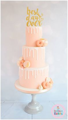 beautiful pink blush with edible gold leaf accents