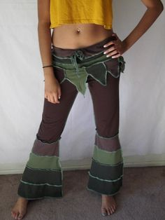 Upcycled Tshirt Pants Tribal Fusion Burlesque Belly Dance Yoga Festival Pants Brown Green Earth Tones