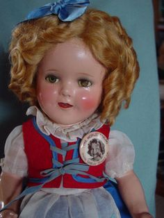 IDEAL, USED, COMPOSITION SHIRLEY TEMPLE DOLL IN VEC BLUE BIRD DRESS W RED VEST!