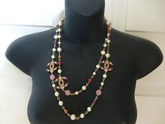 2012 Necklace Faux Pearls Multi Colored Beads and Gold Tone Hardware