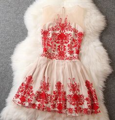Embroidery elegant dress MX61215