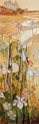 "Alexandre de Riquer (1856 -1920). ""Plafó decoratiu Poesia, 1897"". Tremp sobre tela. 176 x 60 cm. Col·l. particular. Barcelona. España."
