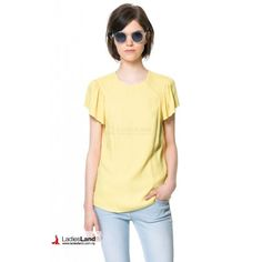 Yellow Frilled Sleeves Top - YBT4081