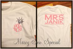 MRS Bridal  Short Sleeve Monogram Tee Shirt by MarcySewSpecial, $24.00