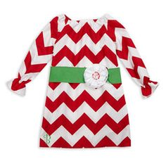 Red Chevron Green Sash Dress cute for a Christmas party