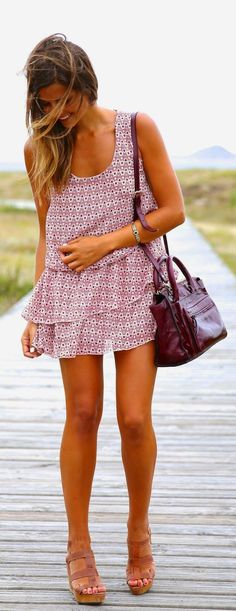 Love this Little Sleeveless Dress with Pop Leather Burgundy Bag
