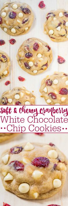 Soft and Chewy Cranberry White Chocolate Chip Cookies - Super soft, buttery, and a holiday baking must-make! Very popular at cookie exchanges and everyone will want the recipe! Cake for kid Köstliche Desserts, Delicious Desserts, Dessert Recipes, Chocolate Desserts, Chocolate Chocolate, Chocolate Lovers, Plated Desserts, Holiday Baking, Christmas Baking