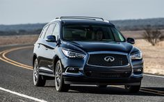 Download wallpapers Infiniti QX60, 2017, 4k, SUV, front view, blue new QX60, Japanese cars, Infiniti