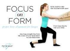 Focus on Form: Proper knee alignment during lunges.  Straight lines and correct angles.
