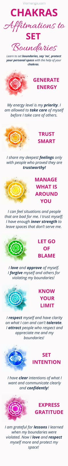 Learn how to set healthy boundaries with your Chakras, Chakra Balancing, Root, Sacral, Solar Plexus, Heart, Throat, Third Eye, Crown, Chakra meaning, Chakra affirmation, Chakra Mantra, Chakra Energy, Energy, Chakra articles, Chakra Healing, Chakra Cleanse, Chakra Illustration, Chakra Base, Chakra Images, Chakra Signification, Anxiety, Anxiety Relief, Anxiety Help, Anxiety Social, Anxiety Overcoming, Anxiety Attack.