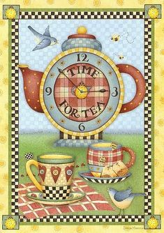 Mary Engelbreit: Time for Tea.Cozinha - Maria A - Picasa Web Albums Arte Pallet, Tee Kunst, Creation Photo, Pintura Country, Country Paintings, Mary Engelbreit, Illustration, Teapots And Cups, Tea Art