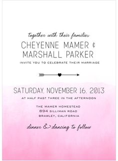These are our invitations and the reply cards are in yellow ombré same font