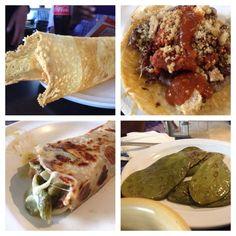 DF: El Califa taqueria: cheese chicharrón, steak taco w chorizo&chicharron ($7),costra of rajas n flour tort, nopales