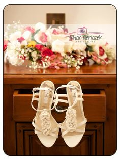 Weddings. Shoes and flowers. Rhian Pieniazek Photography.