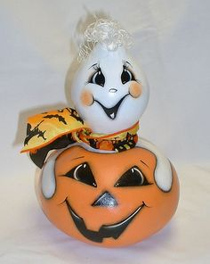 Halloween Jack-O-Lantern and Ghost Gourd  Hand by FromGramsHouse