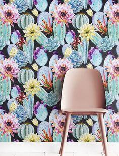 Watercolour Floral Cactus Wallpaper Removable Wallpaper