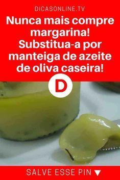 Manteiga de azeite de oliva | Nunca mais compre margarina! Substitua-a por manteiga de azeite de oliva caseira! | Hoje você vai aprender uma técnica que transforma o seu azeite em uma deliciosa manteiga de azeite, muito mais saudável que a margarina, para passar em pães, torradas, bolachas, etc. Aprenda!