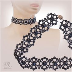 Beaded Necklace PATTERN scroll down round circular