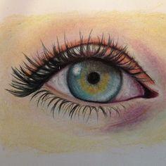 Practice eye drawings using Berol prismacolor pencils