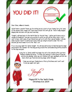 christmas costumes elves This is the goodbye letter from the Elf when he is heading back to the North Pole. This is the goodbye letter from the Elf when he is heading back to the North Pole. Elf On Shelf Letter, Elf Letters, Santa Letter, Elf Goodbye Letter, Goodbye Note, Christmas Elf, Christmas Cookies, Christmas Costumes, Christmas Stuff