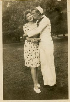 Sailor kissing his girl ~c.1940's