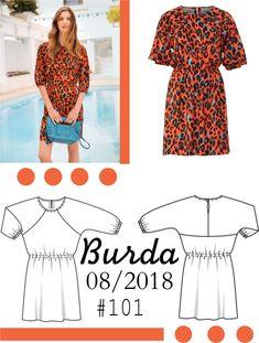 Różowa sukienka uszyta z wykroju Burda 08/2018 model #101 Burda Patterns, Diy Wardrobe, Couture, Sewing, Polyvore, Model, Blog, Style, Fashion