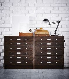 An IKEA RAST 3 drawer chest has been hacked to look like a vintage filing cabinet.
