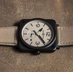 BR S Desert Type - A sophisticated design that enhances legibility. #BRS BellAndRoss #Baselworld2016 #BellRoss #Baselworld #BellRossBasel2016 #deserttype #wotd #Watches #Timepieces #Menswatches