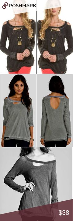 Chaser Deconstructed dark gray long sleeve T-shirt brand new with tag Chaser Deconstructed dark gray long sleeve Tee shirt. This super comfy soft tee is edgy cool and trendy with scoop neck and distressed holes throughout. Chaser Tops Tees - Long Sleeve