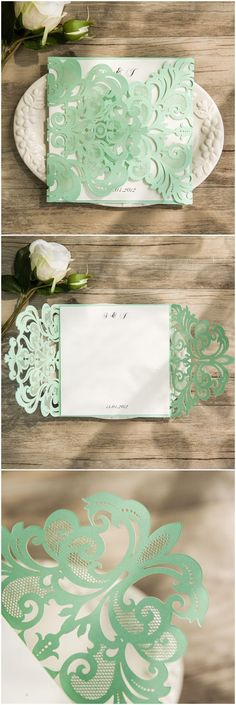 romantic mint green laser cut wedding invitations for elegant wedding ideas ewws107
