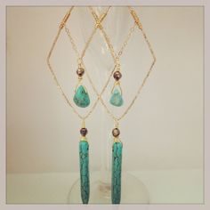 14kt gold hammered diamond earrings with turquoise.