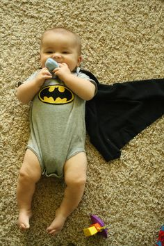 Batman Baby Bodysuit with Builtin Cape by kendascrafts on Etsy, $28.00