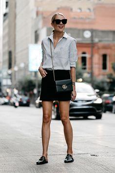 Blonde Wearing Nordstrom Black and White Stripe Shirt Black Denim Skirt Outfit Gucci Mules Gucci Marmont Handbag Fashion Jackson Dallas Blogger Fashion Blogger Street Style