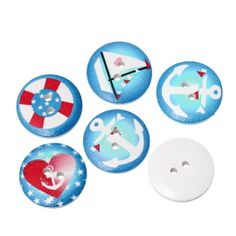 Blue based nautical / sailing 20mm wooden buttons