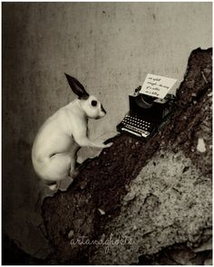 The Writer art print. $20.00 USD by dansedelune, based in Manchester UK and selling  on Etsy #rabbits