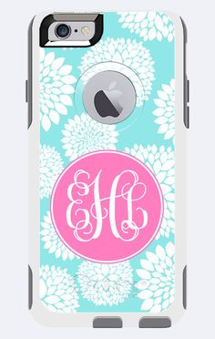 Monogrammed Otterbox Commuter Case iPhone 5c, iPhone 5/5s, iPhone 6 Galaxy 5s Blooms by BeachyMommas on Etsy