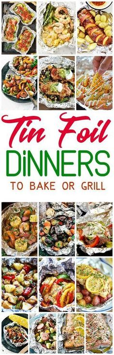 The BEST Tin Foil Dinners Recipes to Bake or Grill - Quick and Easy Meal Prep solution and cleanup recipes! So many delicious chicken, beef, salmon, pork, shrimp and chicken tin foil packet dinners you and your family can enjoy making in the oven all year Tin Foil Dinners, Foil Packet Dinners, Foil Pack Meals, Foil Packets, Healthy Grilling Recipes, Cooking Recipes, Grilled Recipes, Cooking Foil, Tofu Recipes