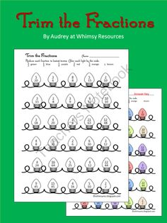 Worksheets Christmas Fractions grab a free fraction printable includes identifying and drawing equivalent reduce fractions christmas trim the from whimsy resources on teachersnotebook com