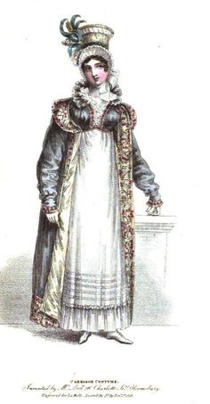 La Belle Assemblee, Carriage Costume, November 1816. This is an all around unusual outfit, but I really like how much is going on. A particularly lovely bonnet…