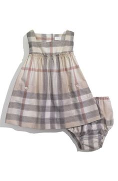 Free shipping and returns on Burberry Gauzy Check Dress (Infant) at Nordstrom.com. Hazy oversized checks pattern a babydoll sundress with diminutive ruffles circling the Empire waist. A matching diaper cover finishes the sweet look.