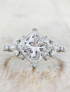 Princess Cut Diamond Ring with round diamond accents #PrincessCutDiamonds #CushionCutDiamonds