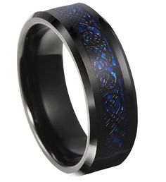 8mm Celtic Blue & Black Tungsten Carbide Ring With Dragon Inlay Design With Carbon Fiber