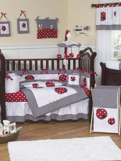 Your little lady bug will feel right at home with the Polka Dot Ladybug 9 piece Nursery #CribBedding set. This whimsical baby girl nursery bedding set combines solid fabrics with gingham and fun polka dot prints. $179.99 plus #freeshipping