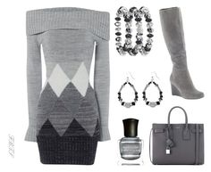 Gray Zone by flybeyondtheskies on Polyvore featuring Jane Norman, Yves Saint Laurent, Avenue, Deborah Lippmann and Cole Haan