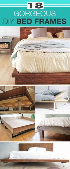 18 DIY Gorgeous DIY Bed Frames • How to Build A Bed Frame Yourself! Try these easy DIY beds with all the instructions!   #DIYBedFrames #DIY #DIYFurniture #DIYBeds