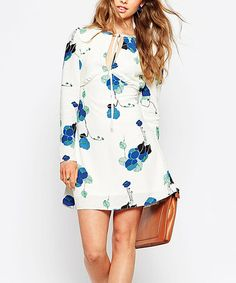 Another great find on #zulily! White Floral Tie-Neck Dress by HaoYouDuo #zulilyfinds