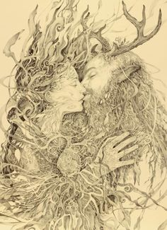 Sacred Marriage.Beltane.  After the long hard winter, at last, The May Queen and The Green Man come together for a kiss amid the bright blossom!